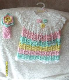 SUMMER SALE Hand crochet baby girl dress with by MadebyMily, $23.00