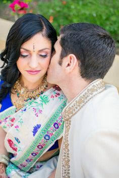 Colorful, Indian-Jewish Fusion Wedding - Couple,  Kiss,  Emily Adam