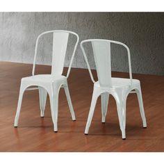 Set of 2 White Xavier Pauchard Tolix A Style Chairs in Powder Coat Finish Steel Metal Stackable Indoor/Outdoor ModHaus http://www.amazon.com/dp/B00KKFSFHK/ref=cm_sw_r_pi_dp_QZlfub09YFMSZ