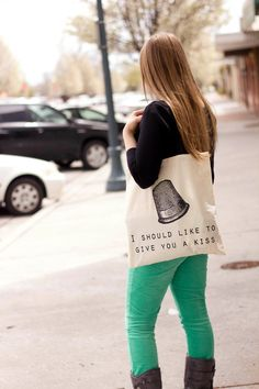 "Peter Pan ""I should like to give you a kiss"" Canvas Tote Bag, $12"