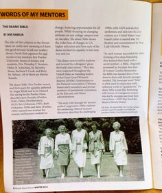 "Mortar Board Forum story about amazing, brilliant women of the book by author Angie Klink, ""The Deans' Bible."" Published by Purdue University Press."