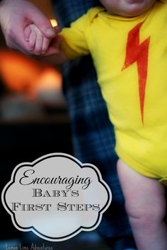 Encouraging Baby's First Steps. Simple easy to follow activity  #milestones