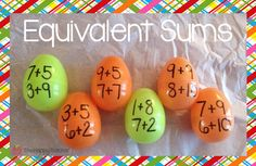 Use plastic Easter eggs to have students practice finding addition sentences with equivalent sums.  A great way to reinforce basic facts in a fun, festive way!  :)
