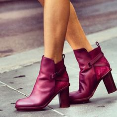 Simone from Flinders Lane wears ACNE 'Cypress Boot' in solid wine.  Shop the look now at www.greenwithenvy.com.au. x