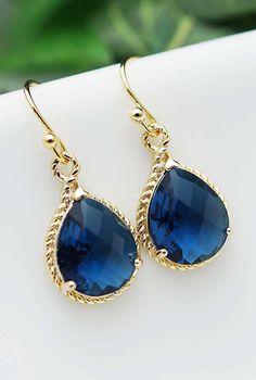 Sapphire Gold Trimmed Pear Cut Earrings