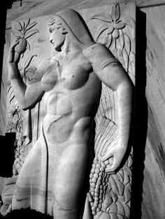 One of two v Deco friezes -- a man and a woman -- at the entrance to the State of Georgia Dept. of Agriculture building in Downtown Atlanta. Georgia.