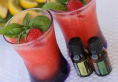 Strawberry Basil Lemonade with doTERRA  essential oils.  This is gooood!!