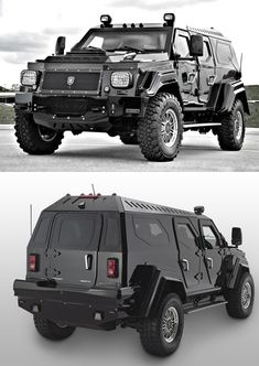 A Canadian company called Conquest Vehicles, which manufactures ultra-luxurious, fully armored, handcrafted sport utility vehicles is producing the military-inspired Knight XV seen here.  The massive, nearly ten-ton vehicle was built from the ground up using high-grade steel, ballistic aluminum and other fun compounds; the doors are so heavy they require special hinges to support the extra weight.