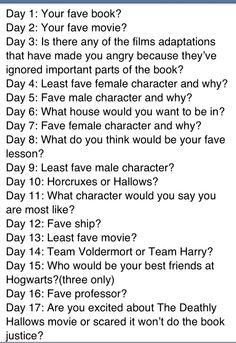 30 day Harry Potter Challenge on Pinterest