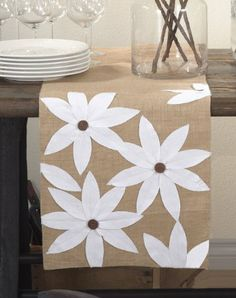 """Amazon.com: Airabella Collection Holiday Floral Design Table Runner, 16""""x72"""" Rectangular (white/natural): Kitchen & Dining - fun for holidays"""