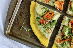 Who could resist this Polenta Pizza with Herbed Cashew Ricotta & Summer Veggies? farm, food recipes, summer food, summer veggies, herb cashew, summer art, cashew ricotta, pizzas, polenta pizza
