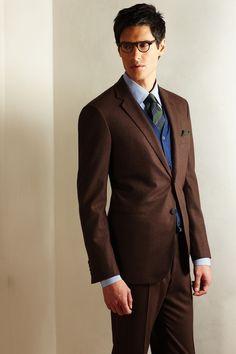 Sharp. warm colors, brown mens suit, blue cardigan, cloth, men style, men fashion, men suit, brown suit, blues