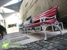 Park benches in Caffe Martaan Belgrade, Serbia