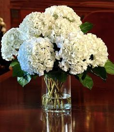 A simple yet beautiful and delicate pure white hydrangea table centerpiece.