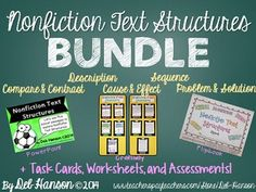 Nonfiction Text Structures BUNDLE (includes PowerPoint, task cards, craftivity, flipbook, worksheets, and assessment)   INCLUDES +75 PASSAGES!!
