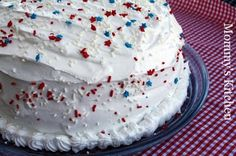 Frosted Patriotic Jell-O Poke Cake.