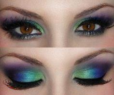white, green, blue, purple, pink eyeshadow for brown eyes