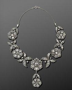 Antique Rose Cut Diamond Floral Clusters Convertible Necklace Tiara, circa 1880