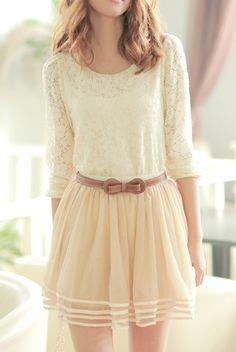 Pretty #tan triple layer skirt http://rstyle.me/n/dy8cmr9te