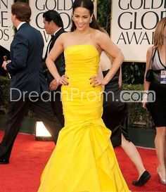 Gorgeous Mermaid Floor-Length Strapless Evening Dresses Inspired by Paula Patton 69th Golden Globes Awards