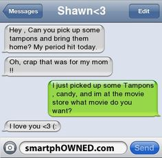 I wonder if Patrick even knows where the tampon aisle is... Aww, Sweets, Stuff, Quotes, Guy, Random, Funny, Things, Boyfriends