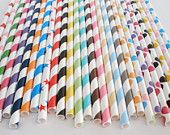 Paper StrawsPICK your Colors 50 ctAny Color Any by DimeStoreBuddy. $8.00, via Etsy.