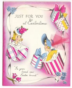 A wonderfully pretty - and stylish - vintage Easter card. #vintage #hats #cards #Easter