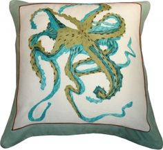 Hand Embroidered Octopus Pillow / SKU Q1-87-2006
