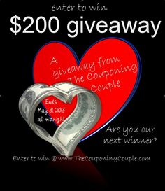 TheCouponingCouple is giving away $200 Cash for our May Giveaway.  Make sure you stop by every day and earn more chances to win!  Good Luck!