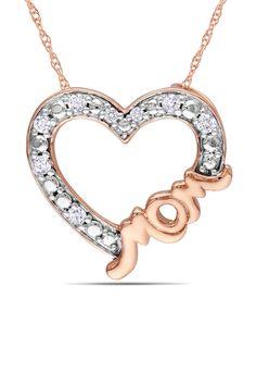 1/10 ct Diamond Heart Mom Pendant in Pink Rhodium Silver