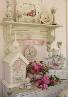 lovely romantic vignette birdhous, vintage shabby chic, shabby chic decor, shabby chic cottage, shabbi chic, kitchen, cottage style, bedroom, shabby cottage