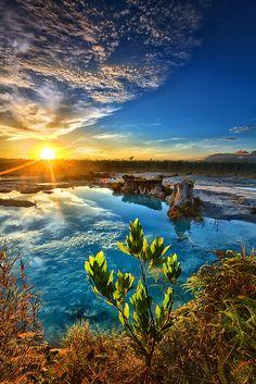 blue lake, sunset, indonesia, lakes, natur, beauti, singkawang, place, blues
