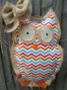 Owl Burlap Door Hanger Door Decoration Mixed Media by nursejeanneg, $28.00