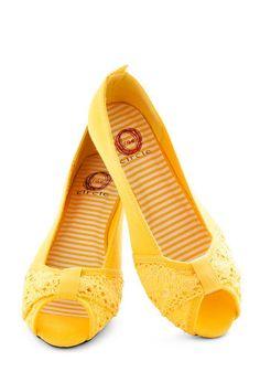 Yellow Peep-toe Flats peeptoe flats, peepto flat