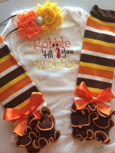 BABY girl Thanksgiving outfit- Baby Girl Fall Outfit - Gobble 'till you Wobble - Baby girl photo outfit - thanksgiving legwarmers on Etsy, $40.00