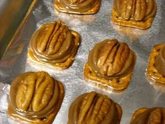 Pretzels, Rolos, and Pecan halves. Place Rolo on pretzel, bake at 350 for 3-5 minutes, place a pecan half on top and push down to squish the chocolate into the pretzel and flatten out. Awesome mix of salt, caramel, and chocolate!!!