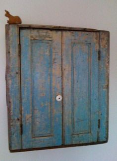19th c Blue Hanging Cupboard.