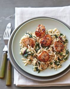 Seared Scallops with Greens and Orzo - recipe for two!
