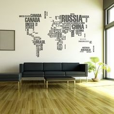 Vinilo decorativo mapa del mundo ciudades