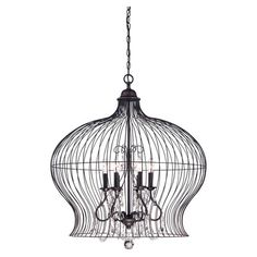 Pendant in forged black with crystal accents.  Product: PendantConstruction Material: MetalColor:
