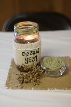 Rustic Bridal Shower table center piece Mason Jar candle burlap she said yes