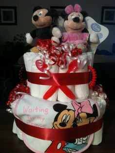Mickey & Minnie Diaper Cake  shersgifts.com