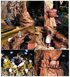 """FAIRY GARDEN @ start!!  """"Our STORY of the little SLIPPER fairy garden"""" We lugged this old root stump & started dreaming w/kids, WOW are they into it already! So far its multi-levels have seashell lounge areas, dancing mushrooms,acorn birdhouses, a lantern flower, a table and two chairs, a fire pit, complete w/ kindlin & stools! Kids began on bark paths. cant wait for greens!! After baths we took them out to see it, & to their surprise.... was a tiny little SLIPPER, lost by the visiting fairy!!!"""