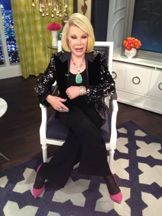 What Joan Rivers wore on April 21. DRESS: Joan Rivers Classics Collection  BLAZER: Dolce & Gabbana  JEWELRY: Cezua