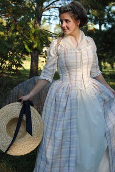 CUSTOM Colonial 18th Century Rococo Dress Gown 1700s House outfit Lace-up front RESERVED. $187.50, via Etsy.
