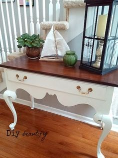 Conquering My Fears of Refinishing Furniture - an icky, $20 Goodwill find gets a dramatic makeover! This was my very first refinishing project! www.diybeautify.com