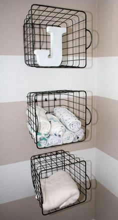 Nursery Organization: Use Wire Baskets as Wall Shelves - #ProjectNursery