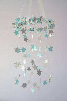 Aqua Gray Nursery Star Mobile- Baby Nursery Decor, Baby Shower Gift. $63.00, via Etsy.