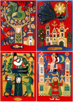 postcards of Károly's Reich linocuts