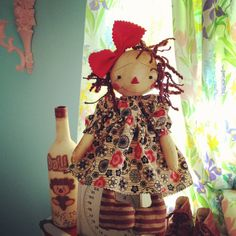 Cloth Raggedy Ann doll Primitive Folk Art Annie by anniescupboards